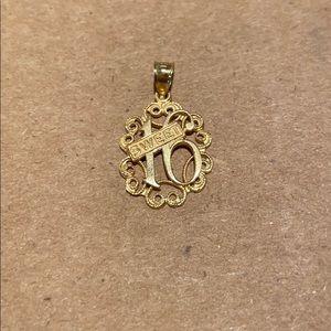14K Gold Sweet 16 Charm / Pendant